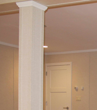 Easy Wrap column sleeves in New Haven basement