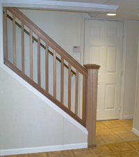 Renovated basement staircase in Mount Vernon
