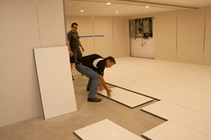 Installing insulated subfloor panels in Stamford