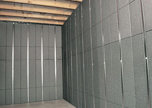 SilverGlo™ insulation and metal studs making up our Basement to Beautiful™ panels.  Installed in New Haven.