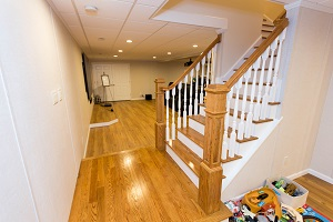 Finishing touches for a remodeled basement in Norwalk