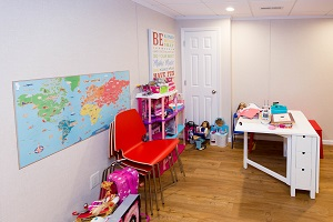 Children's playroom installed in a Stamford basement