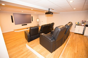A basement turned into a home theater in Yonkers